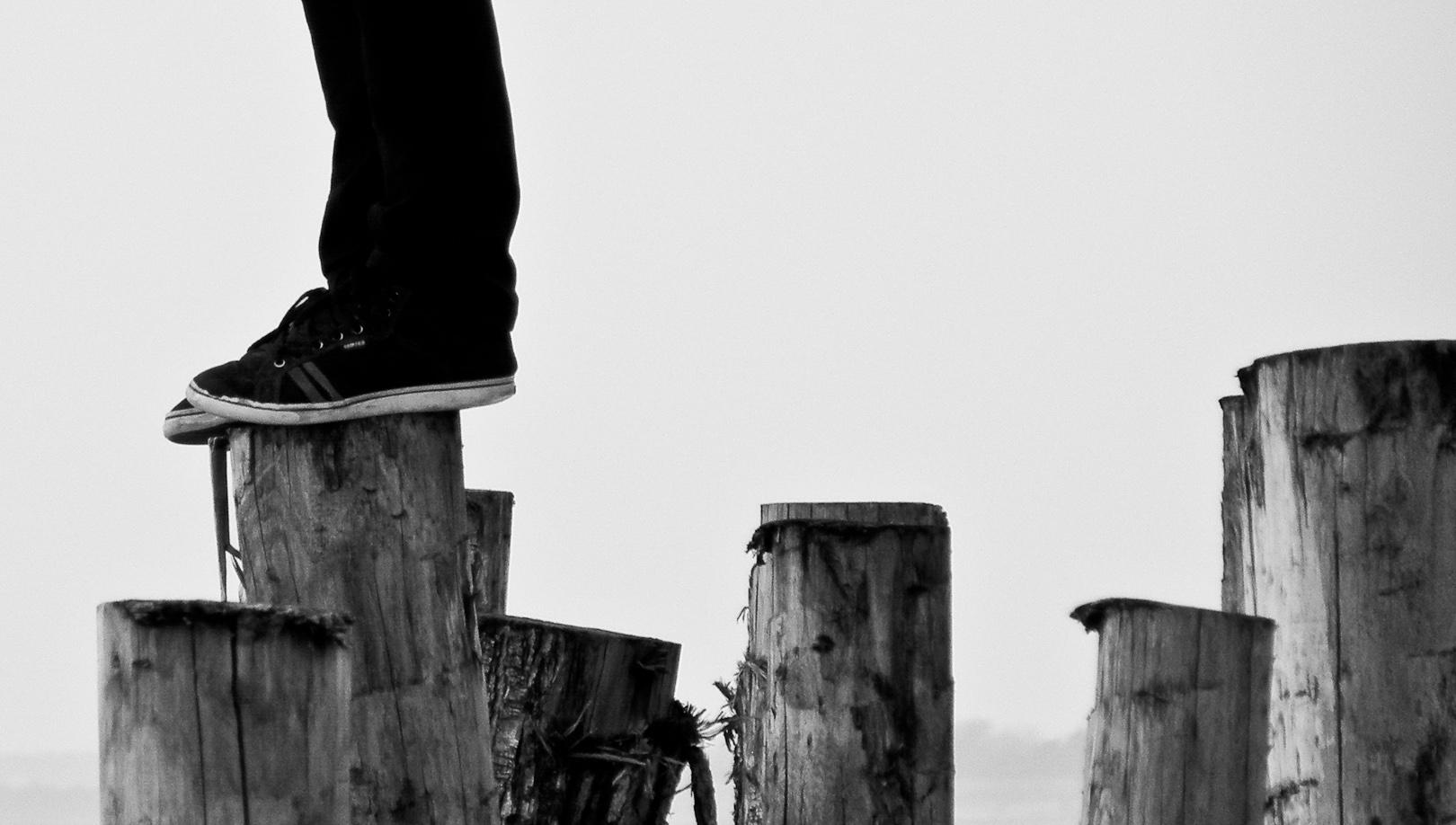 Feet on wood